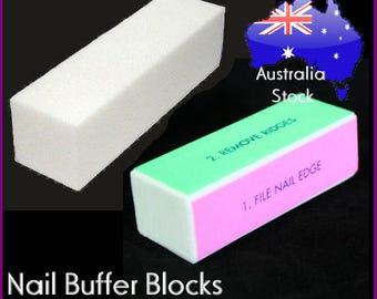 4 in 1 Nail Buffer White Buffer blocks files stick block nail art manicure acrylic gel uv tool sanding buffer professional
