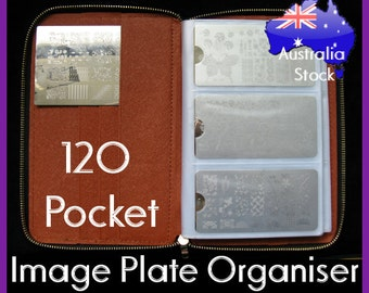 120 pocket rectangle image plate organiser organizer holder folder metal nail art stamping plates double sided durable case bag