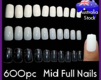 600pc Mid Length Full Cover Square False Fake Nail Tips Gel Acrylic Fingernail Manicure DIY fake nails long press on nails