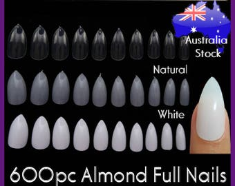 600pc Almond Nail Shape Oval Stiletto Full Cover False Tips Fingernail Manicure Acrylic gel DIY Pointy fake nails long press on nails clear