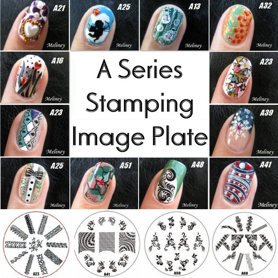 A Series Stamping Nail Art Image Plates Metal Round Stencil Etsy