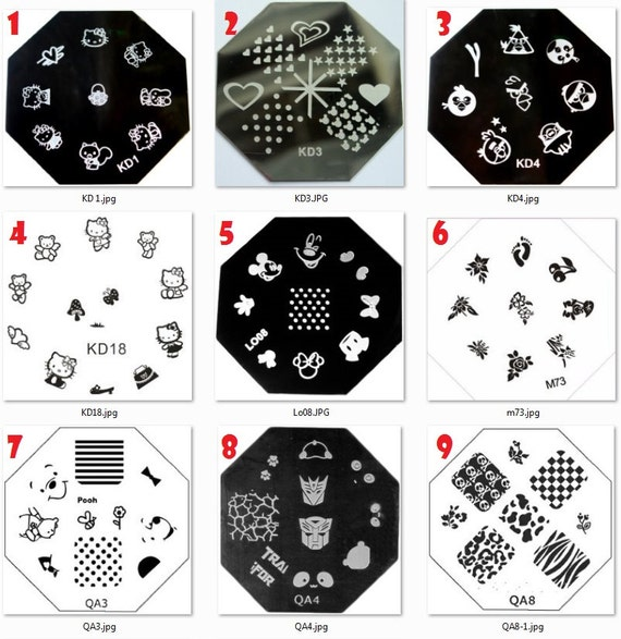 Stamping Nail Art Image Plates Octagon Flower Animals Lace Etsy