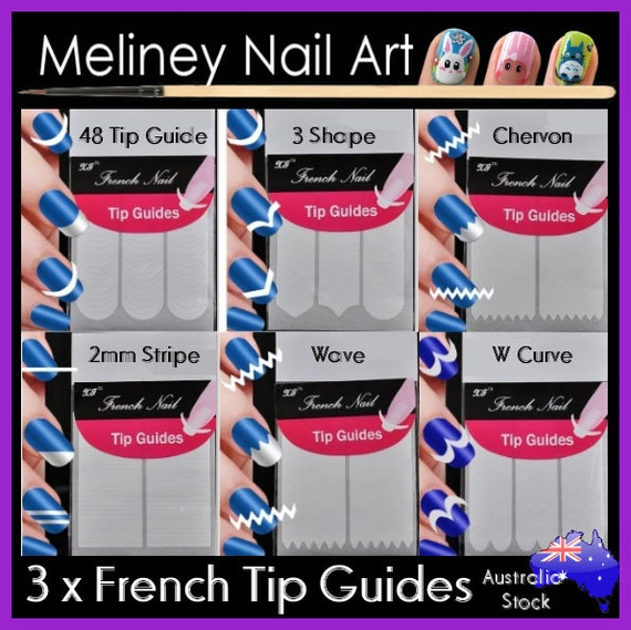 3 x French Tip Guides Smile Line 3 shape wave Nail Art Manicure ...