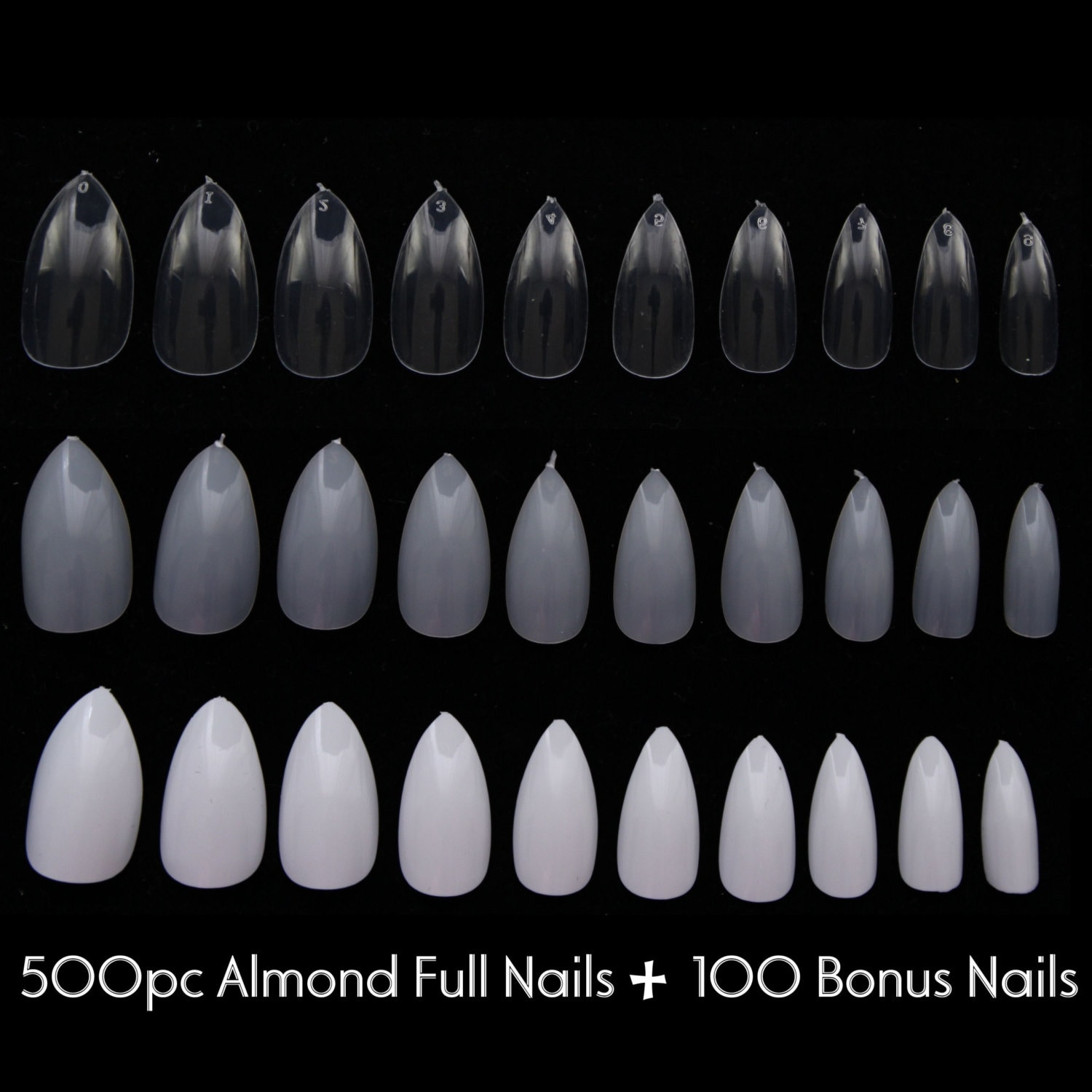 600pc Almond Nail Shape Oval Stiletto Full Cover False Tips ...