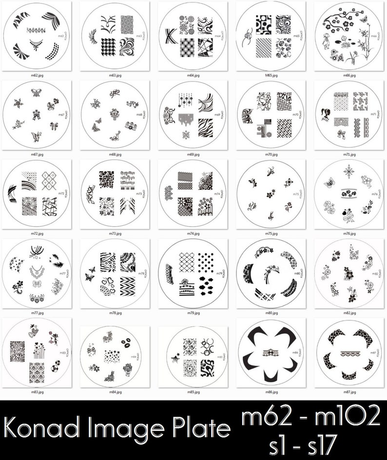 Konad Image Plates M62 M102 S1 S17 For Stamping Nail Art