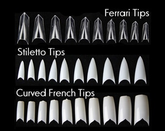100pc False Nail tips French Tip Ferrari sword tip Pointy Stiletto Tips Curved V Shape French Tips Manicure Fake Nails