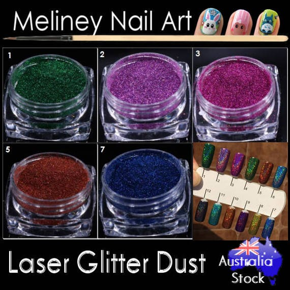 Laser Glitter Dust Powder Nail Art Decoration Colour | Etsy