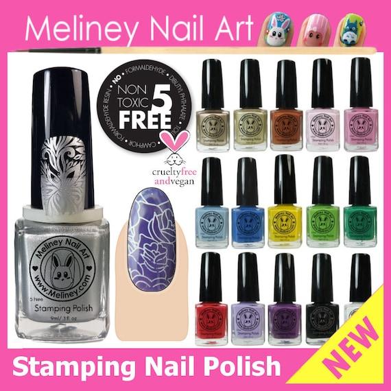 Meliney Nail Art 9ml Stamping Polish Non Toxic 5 Free Vegan Etsy