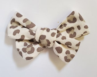Nylon hair bow headband newborn baby girls rockabilly leopard print brown
