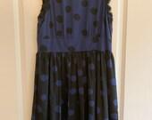 Corey Lynn Calter blue and black polka dot lace trimmed dress sz. 8