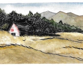 Adirondack Mountains Original Watercolor Landscape Illustration Print Red Barn Golden Fields