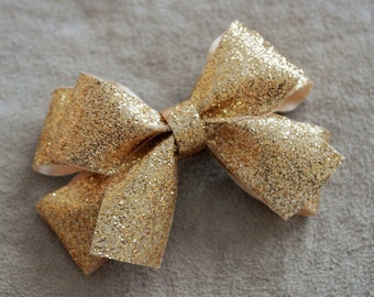Holiday Gold Glitter Hair Bow Clip