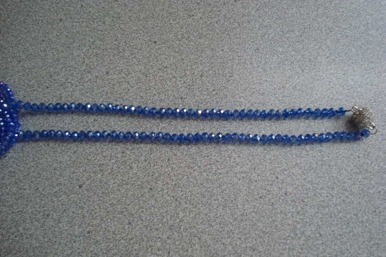 VINTAGE 2 Austrian CRYSTAL NECKLACES  Sapphire and Baby Blue 5 Strand /& Single Strand  Rhinestone Clasp