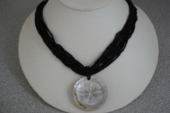 VINTAGE Black Bead NECKLACE & Mother of Pearl PEND