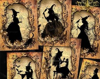 Halloween digital collage - Halloween Silhouette, Greeting Cards, Scrapbook,Journaling, Halloween digital images, Witch Art download
