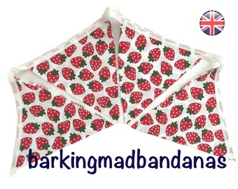 Strawberry Bunting Handmade Marquee Bunting, Tennis Decoration, Wimbledon Decor Party Bunting UK Free UK DELIVERY