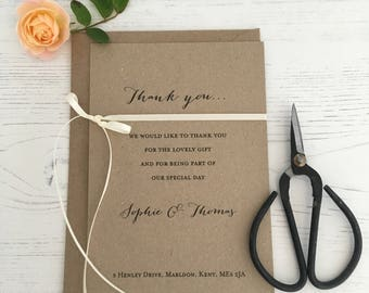 Rustic Bow, Thank you Card, Wedding Thank You Card, Personalised Thank You Cards, Rustic Thank you Card,