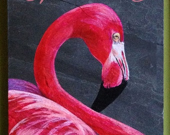 """Majestic Pink Flamingo hand painted on 8""""W X 12""""H slate."""
