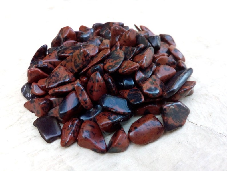 Loose Red Obsidian Stones Natural Obsidian Gravel Bits Raw Red Obsidian Obsidian Gemstone Chips Small Tumbled Red Obsidian Pieces
