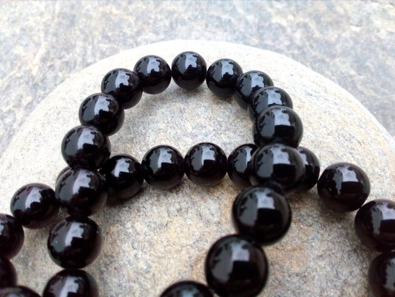 10 mm Round Black Agate Beads 1 mm Hole Bead 10 mm Jewelry Beads European Bead Supply Natural Agate Beads Bracelet Necklace