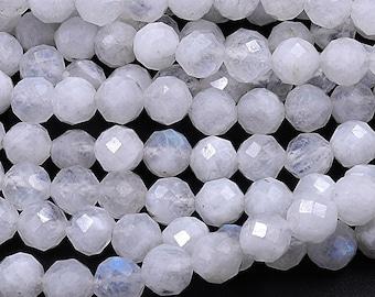 AAA MicroFaceted Rainbow Moonstone Oval 5-8mm Gemstone Beads