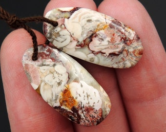 Natural Galaxy Jasper Earring Pair Oval Cabochon Cab Pair Drilled Matched Earrings Bead Pair Natural Stone E2737
