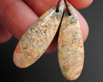 Natural Galaxy Jasper Earring Pair Teardrop Cabochon Cab Pair Drilled Matched Earrings Bead Pair Natural Stone E2734