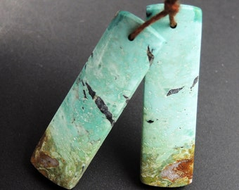 Turquoise Earring Pair From Anhui Mine Cabochon Cab Pair Rectangle Drilled Matched Earrings Natural Stone Bead Pair E2895