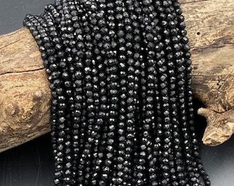 "AAA Genuine Natural Black Tourmaline Faceted Round Beads 2mm 3mm 4mm Micro Diamond Cut Gemstone 15.5"" Strand"