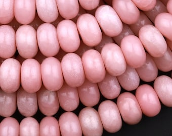 """Natural Pink Opal 6mm 8mm Smooth Rondelle Beads 15.5"""" Strand"""