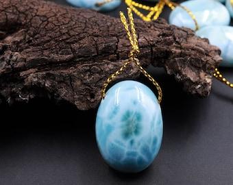 Natural Larimar Oval Pendant Side Drilled Genuine Real Blue Larimar Gemstone Focal Bead