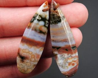 Ocean Jasper Earring Pair Teardrop Cabochon Cab Pair Drilled Matched Earrings Bead Pair Natural Stone E2489