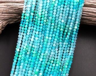 "AAA Peruvian Amazonite 4mm Faceted Round Beads Multi Shaded Natural Sea Blue Gemstone Micro Laser Diamond Cut 15.5"" Strand"