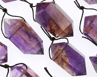Drilled Natural Ametrine Pendant Double Terminated Point Rich Purple Golden Gemstone Crystal Focal Top Side Drilled Bead