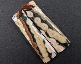 Natural Ocean Jasper Earring Pair Rectangle Cabochon Cab Pair Drilled Matched Earrings Bead Pair Natural Stone E1857