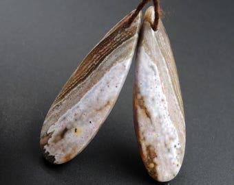 Ocean Jasper Earring Pair Teardrop Cabochon Cab Pair Drilled Matched Earrings Bead Pair Natural Stone E2480