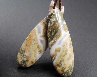 Natural Ocean Jasper Teardrop Cabochon Cab Pair Drilled Matched Earrings Bead Pair E1211