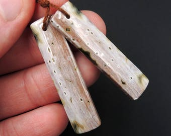 Natural Ocean Jasper Earring Pair Rectangle Cabochon Cab Pair Drilled Matched Earrings Bead Pair Natural Stone E2142