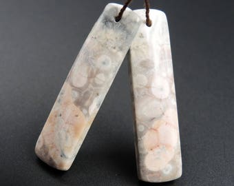 Natural Galaxy Jasper Earring Pair Rectangle Cabochon Cab Pair Drilled Matched Earrings Bead Pair Natural Stone E1427