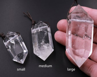 AAA Double Terminated Natural Rock Quartz Pendant Top Side Drilled Gemstone Crystal Focal Bead