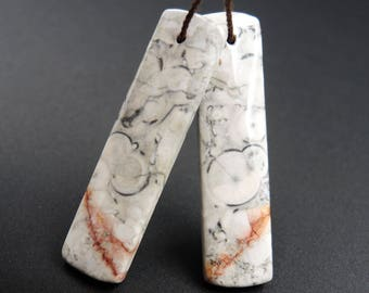 Natural Galaxy Jasper Earring Pair Rectangle Cabochon Cab Pair Drilled Matched Earrings Bead Pair Natural Stone E1426