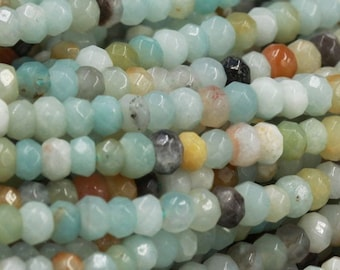 Crystal Quartz 4x2mm Faceted Tiny Rondelle Semi Precious Stone Beads 1 Strand