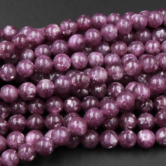 "AAA Natural Maroon Purple Lepidolite 4mm 6mm 8mm 10mm 12mm Beads 16/"" Strand"