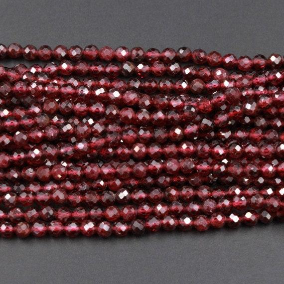 Wholesale genuine 2-3MM natural garnet round Gemstone loose beads 15 inch AAA+