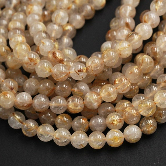 Natural Golden Rutilated Quartz Gemstone Round Beads 4mm 6mm 8mm 10mm 12mm 15.5/""
