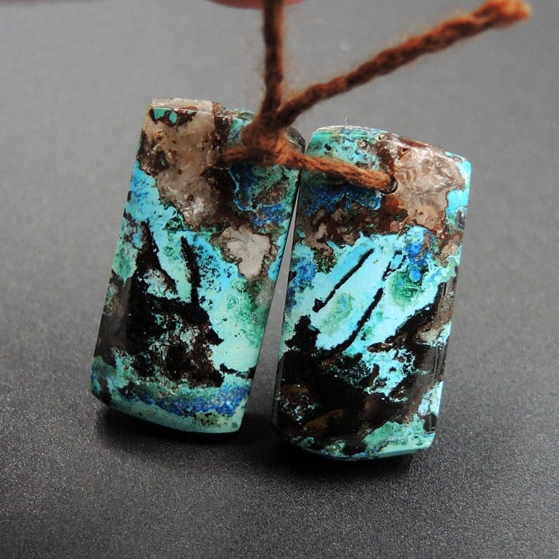 Natural Shattuckite Earring Pair Cabochon Cab Pair Drilled Matched Earrings Bead Pair Natural Stone E1980