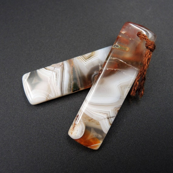 Natural Botswana Agate Rectangle Cabochon Cab Pair Drilled Matched Earrings Bead Pair Natural Stone E1385