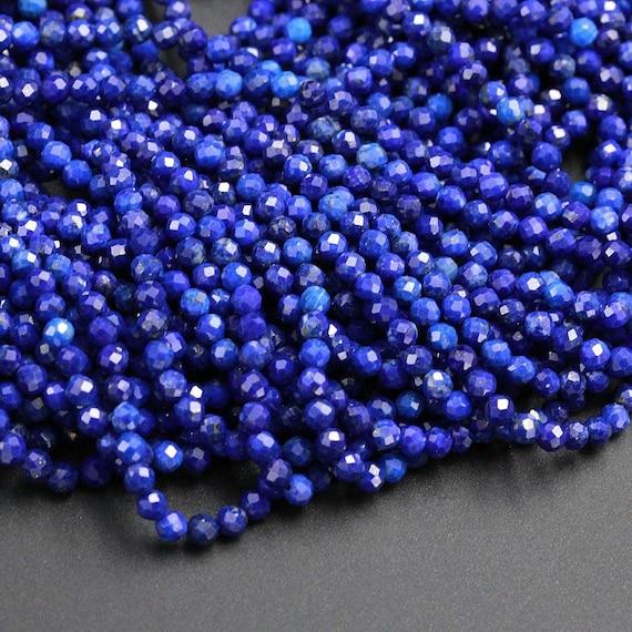 "Vintage Tiny Natural Blue Lapis Rondelle Afghanistan Gemstone 1mm Beads 15/"" Std"