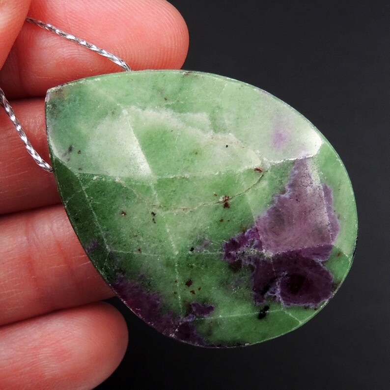 Large Natural Ruby Zoisite Pendant Faceted Teardrop Side Drilled Pendant Bead Pink Red Ruby in Green Zoisite Gemstone Pendant P2068
