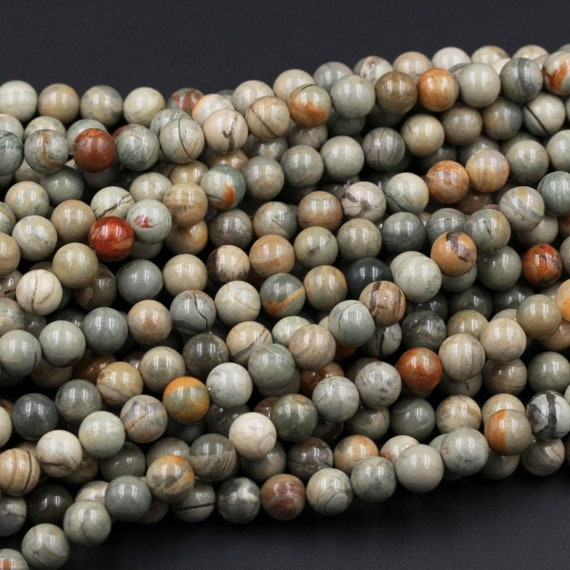 3MM SILVER LEAF JASPER GEMSTONE GRADE A ROUND 3MM LOOSE BEADS 16/""